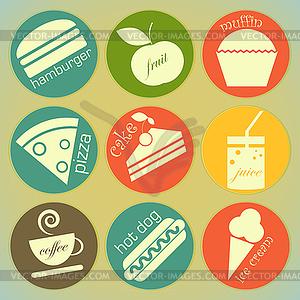 Set von runden Retro-Etiketten mit Lebensmitteln - Vector-Clipart