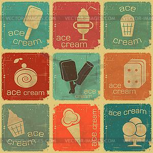 Ice Cream - Set Etiketten - Vektorgrafik