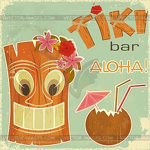 Hawaiische Vintage-Postkarte - vektorisiertes Bild