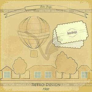 Retro-Karte mit Luftballon - Vector-Clipart EPS