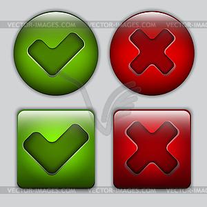 Set Schaltflächen Ja und Nein - farbige Vektorgrafik