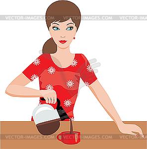 Woman on Küche gießt Kaffee - Vektor-Clipart