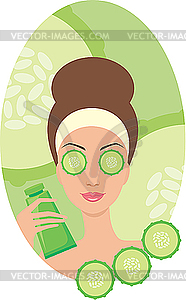 Schöne junge Frau mit einer Gurke im Gesicht - Vektor-Illustration