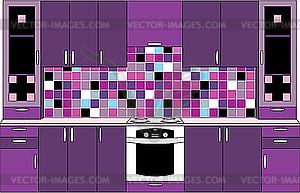 Interior. Küche in violetten Tönen - vektorisiertes Clip-Art