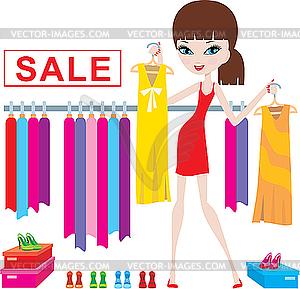 Junge Frau auf Kleidung und Schuhe kaufen - Vektor-Design