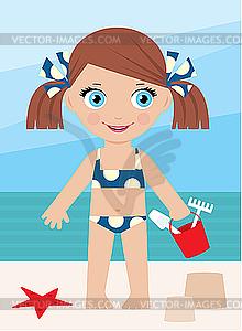 Kleines Mädchen auf einer Küste mit einem Eimer - Vektorgrafik-Design