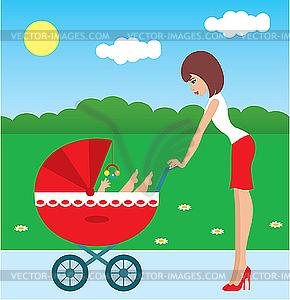 Mutter spaziert mit dem Kind in einem Kinderwagen - Clipart