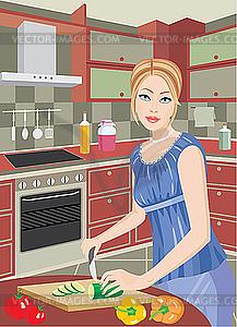 Junge Frau schneidet Gemüse in der Küche - Vektor-Design