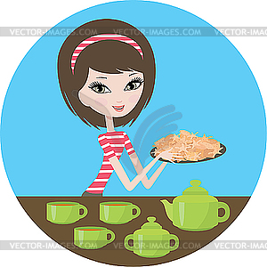 Hübsches Mädchen mit Keksen - Vector-Bild