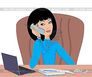 Business-Frau spricht am Telefon - Clipart