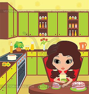 Hübsches Mädchen isst Kuchen - vektorisierte Abbildung
