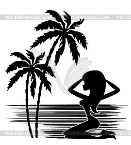 Palme und Silhouette einer Frau - Clipart