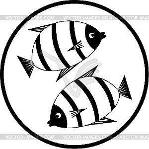 Emblem mit den Fischen - Vektorgrafik-Design