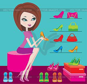 Shop der weiblichen Schuhwerk - Vektor-Illustration