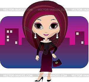 Junge Frau in einer Stadt - Vector-Clipart EPS