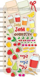 Scrapbook-Elemente mit Obst und Marmelade - Vector-Clipart / Vektor-Bild