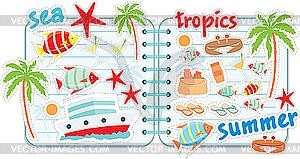 Tropische Scrapbook-Elemente - Vektor-Klipart