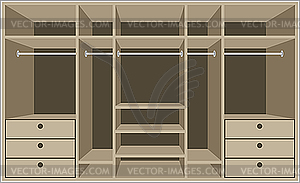 Begehbarer Schrank. Möbel - farbige Vektorgrafik