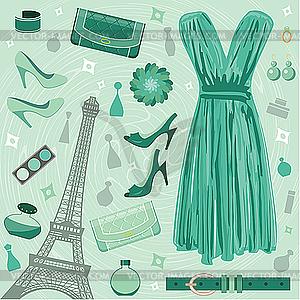 Set von Pariser Mode - Clipart-Bild