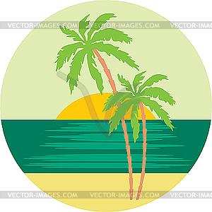Tropischer Strand mit Palmen. - Vector-Clipart / Vektor-Bild