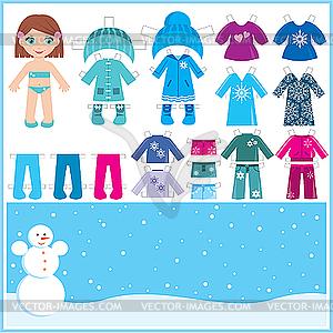 Бумажная кукла с набором зимней одежды - цветной