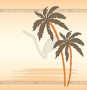Tropischer Strand mit Palmen - Vector-Clipart