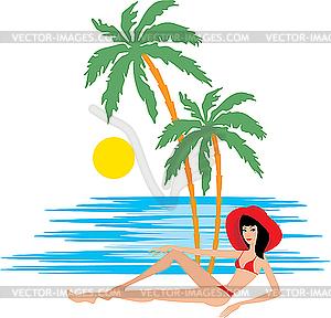 Tropischer Strand mit Palmen und Frau - vektorisiertes Bild