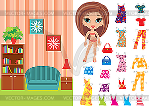 Puppe aus Papier mit Kleidung und Raum - Clipart-Design