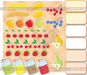 Scrapbook-Elemente mit Obst und Marmelade - Stock-Clipart