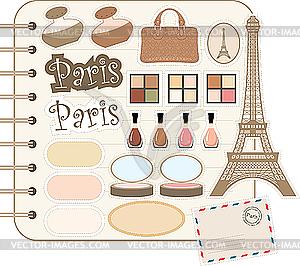 Scrapbook-Elemente mit Eiffelturm und Kosmetik - Vektor-Design
