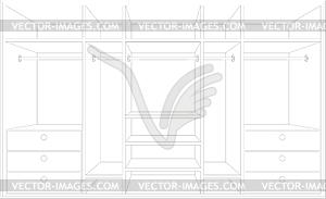 Zeichnung einer Garderobe. Entwurf von Möbeln - Vektor-Clipart EPS