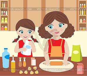 Mutter mit der Tochter Koch Teig - Vektor-Clipart / Vektorgrafik