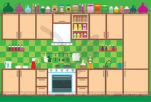 Küchenmöbel. Innen- - Vektorgrafik-Design