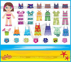 Papierpuppe mit Sommer-Kleidung - Clipart-Bild