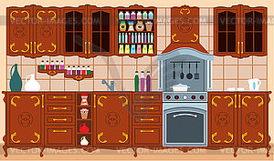 Küchenmöbel. Interieur. - Stock Vektorgrafik