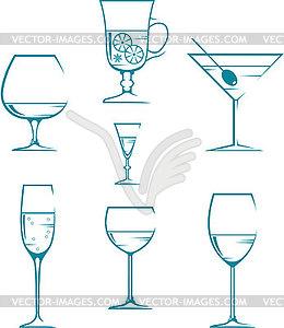 Satz von Icons - Gläser für alkoholfreie Getränke - Vector-Clipart / Vektor-Bild