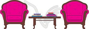 Zwei Stühle und Tisch - vektorisiertes Bild