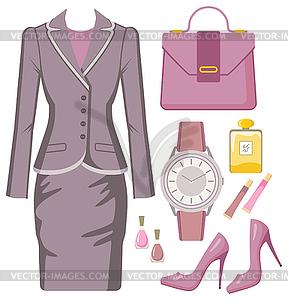 Fashion-Set der weiblichen Anzug, Accessoires und Kosmetik - Vektor-Clipart / Vektorgrafik