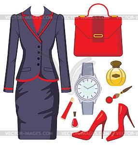 Fashion-Set der weiblichen Anzug, Accessoires und Kosmetik - farbige Vektorgrafik