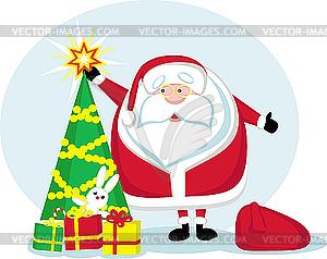 Weihnachtsmann mit Tannenbaum und Geschenken - Vektor-Clipart / Vektorgrafik