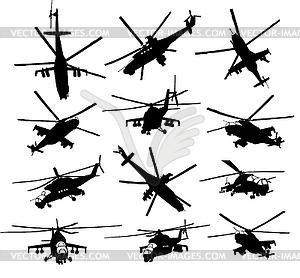 Hubschrauber Silhouetten eingestellt - Vector-Clipart