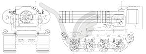 Zeichnen selbstfahrende schweren Maschinengewehr - Stock Vektor-Bild