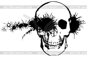 Monochrom-Grunge - Kugel durch den menschlichen Schädel - vektorisiertes Design
