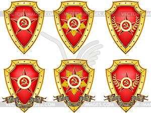 Set von militärischen Schilden mit Medaillen - Vektor-Bild