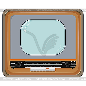 Alter Fernseher in der Holzkiste - Clipart-Bild