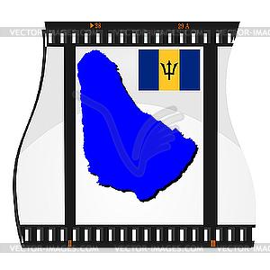 Filmaufnahmen mit nationalen Karte von Barbados - Vektor-Clipart EPS