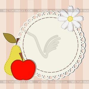 Spitzen-Serviette, Apfel, Birne und Kamille - Vektorgrafik