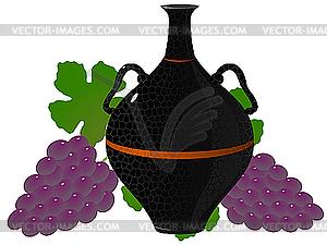 Amphora mit Trauben - Vektorgrafik-Design