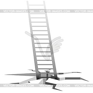 Treppe kommt aus Rissen im Grund - vektorisierte Abbildung