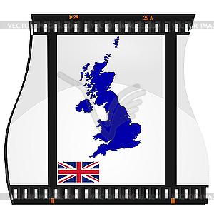 Filmaufnahmen mit nationalen Karte von Großbritannien - Vector-Clipart EPS